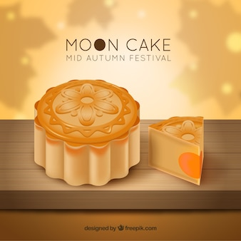 Fondo de festival de mediados de otoño con pastel de luna