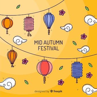 Fondo de festival de medio otoño con farolillos de colores