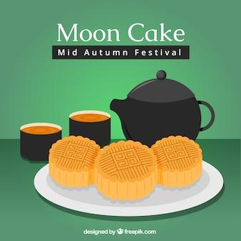 Fondo de festival del medio otoño con pastel típico