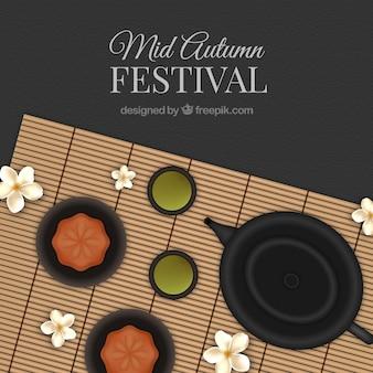 Fondo del festival de medio otoño con tetera y flores