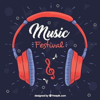 Fondo de festival de música con auriculares