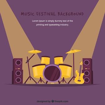 Fondo de festival de música con batería en el escenario