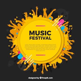 Fondo de festival de música con manos en estilo hecho a mano