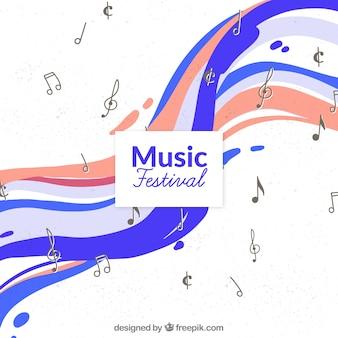 Fondo de festival de música con notas en estilo hecho a mano