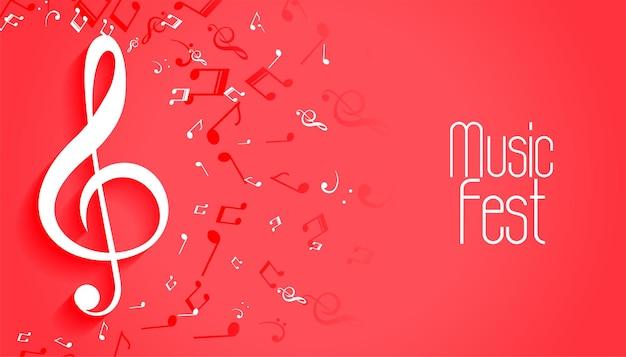 Fondo de festival de música con notas de sonido.