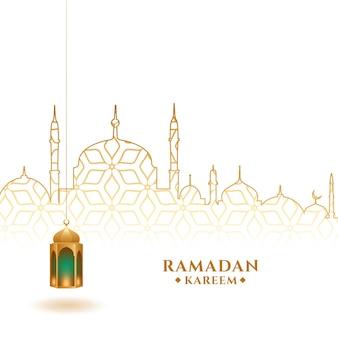 Fondo del festival de ramadan kareem con linterna y mezquita
