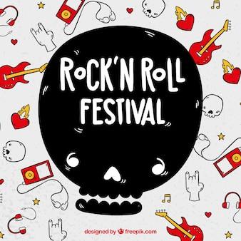 Fondo de festival de rock and roll con instrumentos