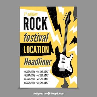 Fondo de festival de rock con guitarra eléctrica