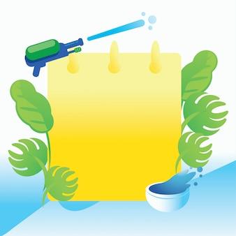Fondo festival de songkran con pistola de agua y hoja
