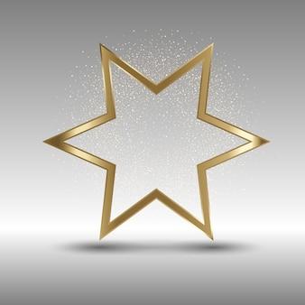 Fondo festivo abstracto con estrella dorada y brillo