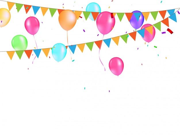 Fondo festivo de banderas y globos de colores