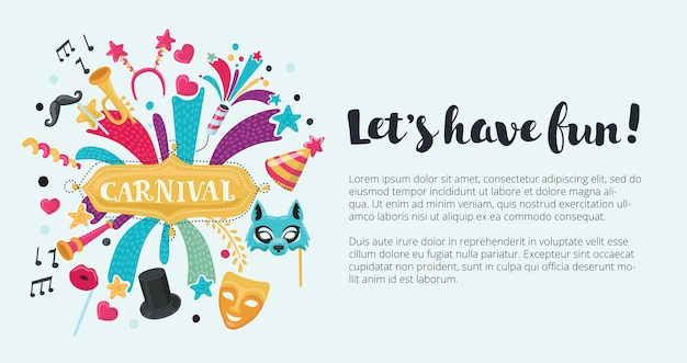 Fondo festivo de celebración con iconos y objetos de carnaval