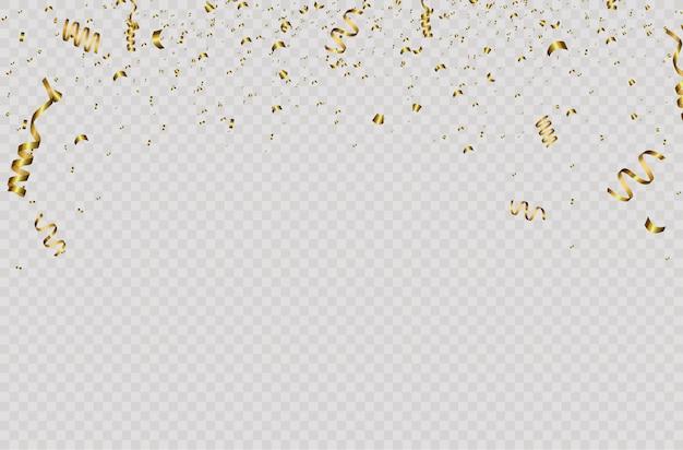 Fondo festivo con confeti dorado y cinta dorada. cae confeti brillante en color oro aislado sobre fondo transparente. año nuevo, cumpleaños, elemento de diseño del día de san valentín.