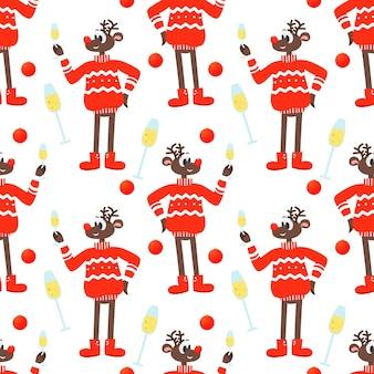 Fondo festivo sin costuras con un reno de navidad en un suéter rojo y champán