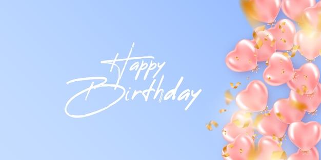 Fondo festivo de cumpleaños con globos de helio en forma de corazón.