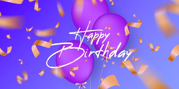 Fondo festivo de cumpleaños con globos de helio.