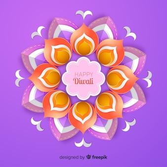 Fondo festivo de diwali en papel