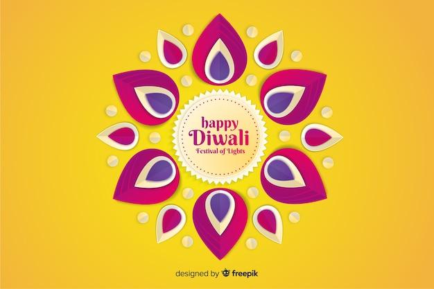 Fondo festivo feliz diwali en papel estilo