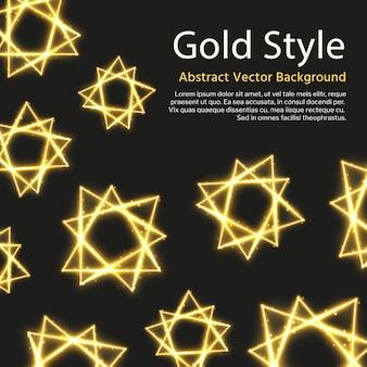 Fondo festivo con formas abstractas doradas