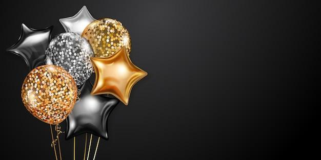 Fondo festivo con globos de aire dorados y plateados y piezas brillantes de serpentina. ilustración de vector de carteles, folletos o tarjetas.