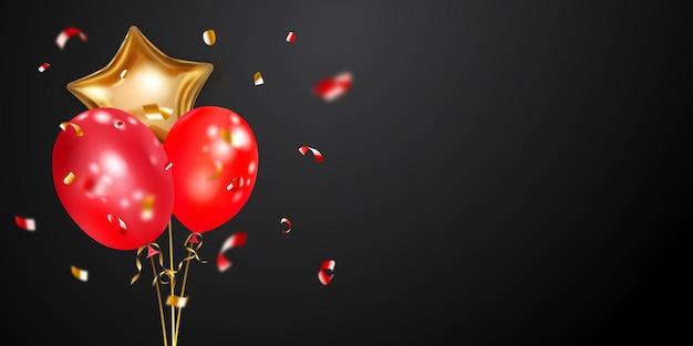 Fondo festivo con globos de aire dorados y rojos y piezas brillantes de serpentina. ilustración de vector de carteles, folletos o tarjetas.