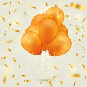 Fondo festivo con globos y confeti.