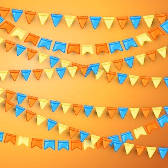 Fondo festivo con guirnaldas de banderas