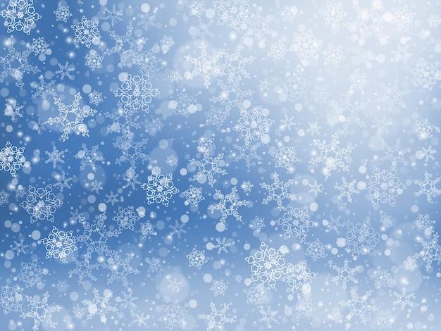 Fondo festivo de invierno de nieve que cae