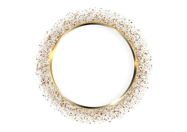 Fondo festivo con marco de círculo dorado y espacio para texto