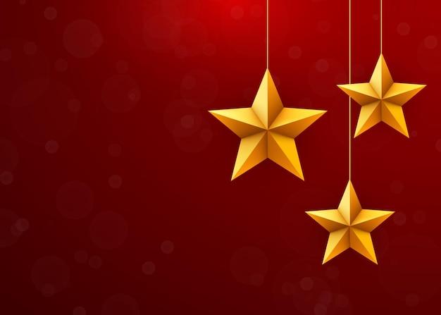 Fondo festivo de navidad con adornos de estrellas de navidad.