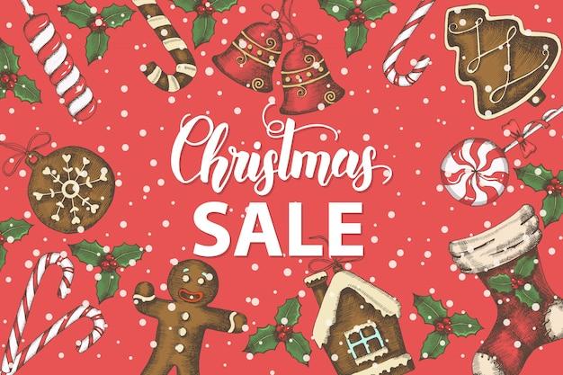 Fondo festivo de navidad con hojas de acebo dibujadas a mano, campanas, pan de jengibre y calcetín de navidad.
