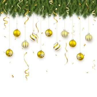 Fondo festivo de navidad o año nuevo. ramas de abeto de navidad con confeti y bolas de oro de navidad. antecedentes de vacaciones.