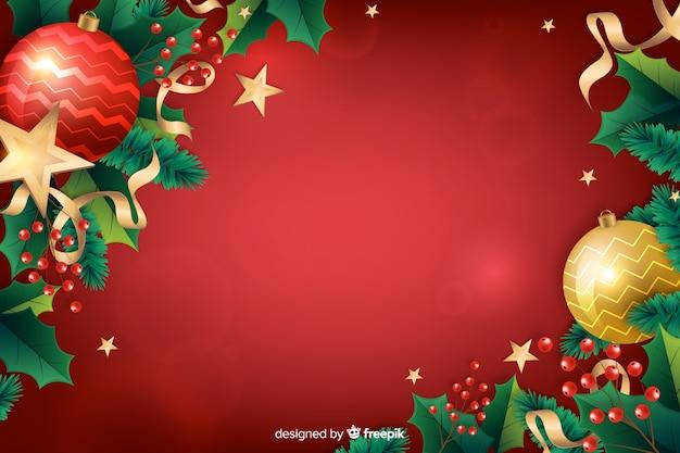 Fondo festivo rojo realista de navidad