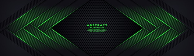 Fondo de fibra de carbono hexágono oscuro abstracto con líneas luminosas verdes