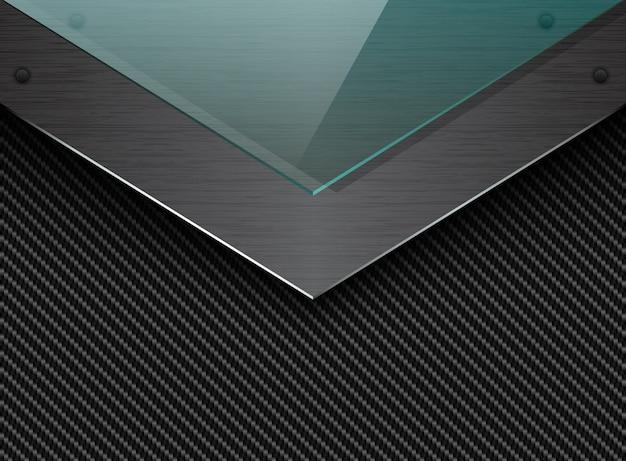 Fondo de fibra de carbono negro con placa de metal cepillado en esquina y vidrio transparente verde. flecha elegante industrial