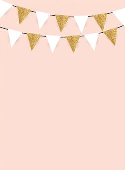 Fondo de fiesta con banderas de brillo dorado