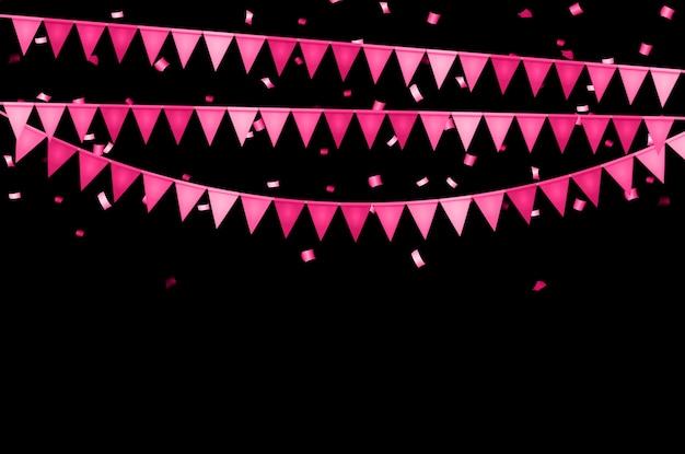 Fondo de fiesta con banderas y confeti.