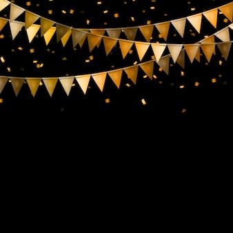 Fondo de fiesta con banderas y confeti