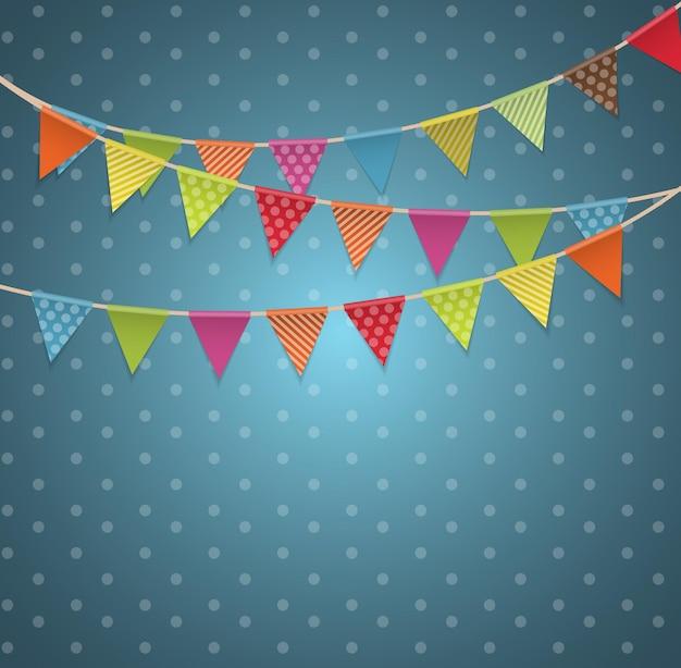 Fondo de fiesta con banderas ilustración vectorial