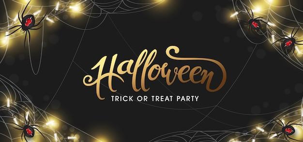 Fondo de fiesta de banners de texto de halloween feliz. arañas realistas y luces brillantes.
