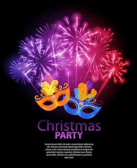 Fondo de fiesta de belleza abstracta feliz navidad y año nuevo con máscara de carnaval de mascarada