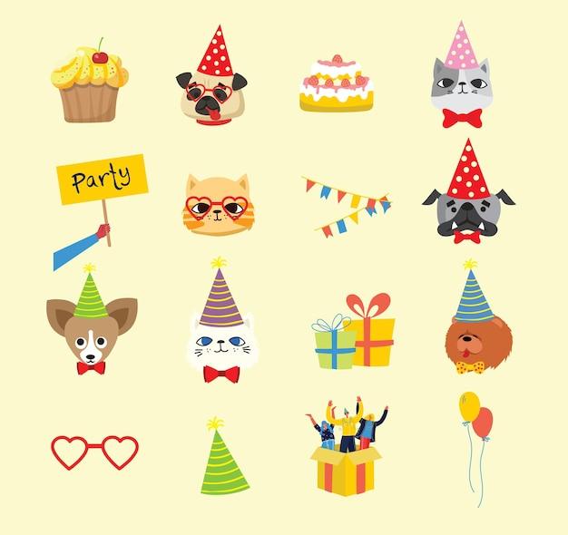 Fondo de fiesta de cachorros. linda tarjeta de felicitación con regalos y cachorros, perros y gatos