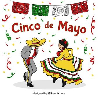 Fondo de fiesta de cinco de mayo con pareja bailando
