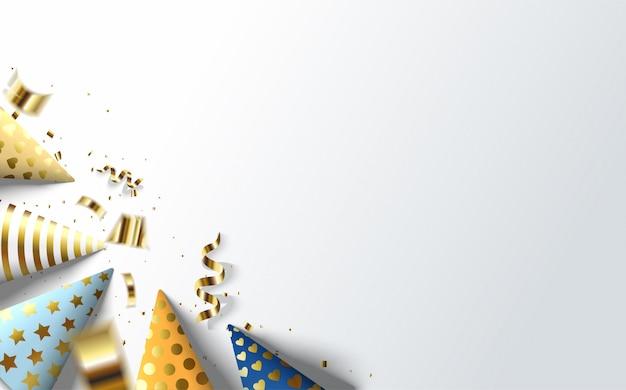 Fondo de fiesta con una colorida ilustración de sombrero de cumpleaños