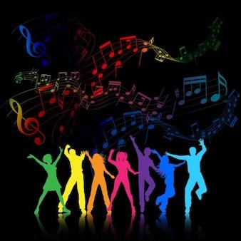 Fondo de fiesta colorido con la gente bailando