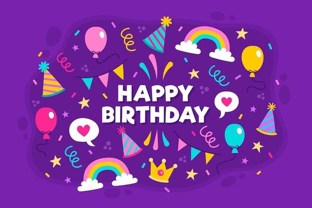 Fondo de fiesta de cumpleaños dibujado a mano con cintas