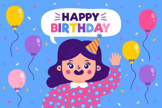 Fondo de fiesta de cumpleaños dibujado a mano con globos