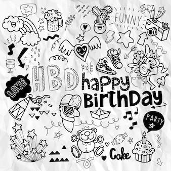 Fondo de fiesta de cumpleaños de doodle, elemento de cumpleaños de dibujar a mano