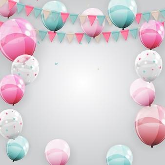 Fondo de fiesta de cumpleaños feliz con banderas y globos.