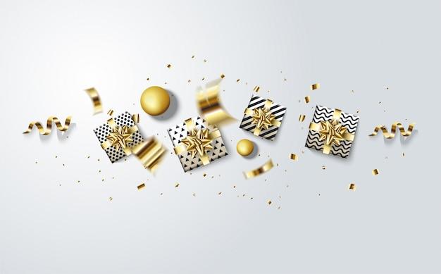 Fondo para una fiesta de cumpleaños o celebración. con ilustraciones de cajas de regalo y pedazos rotos de papel de oro